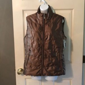 New Directions Puffer Vest Sz L Bronze NWT